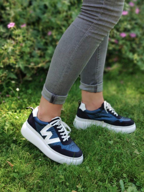 Alice-basket-nylon-bleu-wonders-cuir-semelle-epaisse-compensee-blanche-signe-W-croute-de-cuir-lacets-A2605-la-fee-bottee-06
